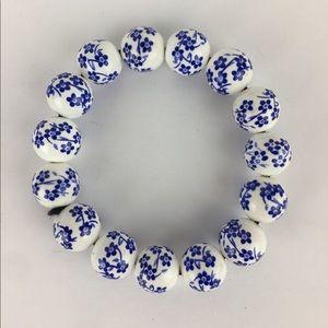 Asian White and Blue floral ceramic bead bracelet